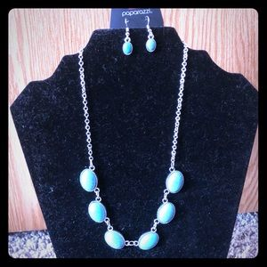 Turquoise and Silver Vintage Necklace and Earrings